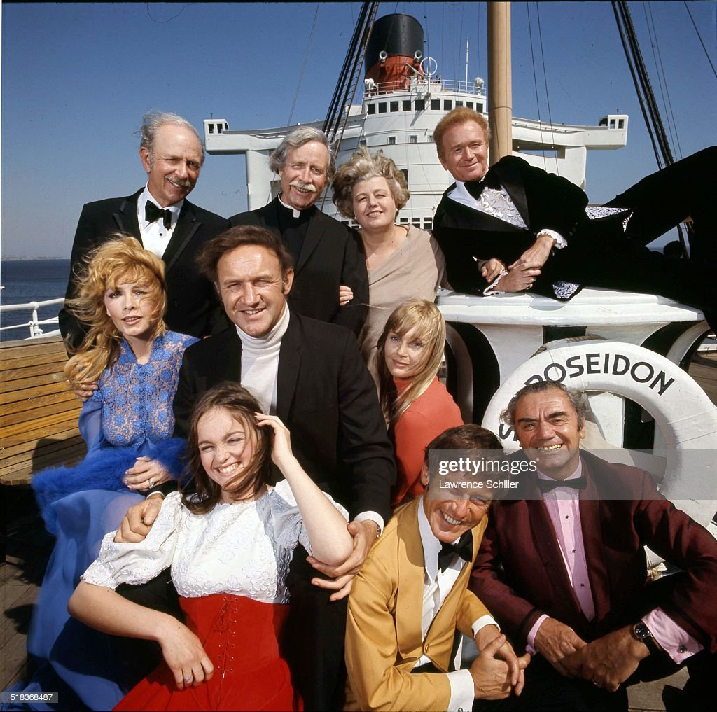 Portrait of the cast of the film 'The Poseidon Adventure' (directed by Ronald Neame), California, 1972. Pictured are, rear from left, Jack Albertson (1907 - 1981), Arthur O'Connell (1908 - 1981), Shelley Winters (1920 - 2006), and Red Buttons (1919 - 2006); center, from left, Stella Stevens, Gene Hackman, and Carol Lynley; and fore, from left, Pamela Sue Martin, Roddy McDowall (1928 - 1998), and Ernest Borgnine (1917 - 2012).