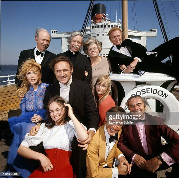 Portrait of the cast of the film 'The Poseidon Adventure' California 1972 Pictured are rear from left Jack Albertson Arthur O'Connell Shelley Winters...