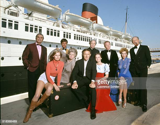 Portrait of the cast of the film 'The Poseidon Adventure' , California, 1972. Pictured are, seated from left, actors Carol Lynley, Shelley Winters ,...