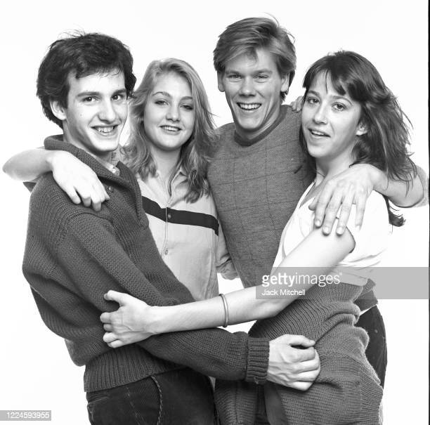 Portrait of the cast of the OffBroadway play 'Album' from left actors Keith Gordon Jenny Wright Kevin Bacon and Jan Leslie Harding New York New York...