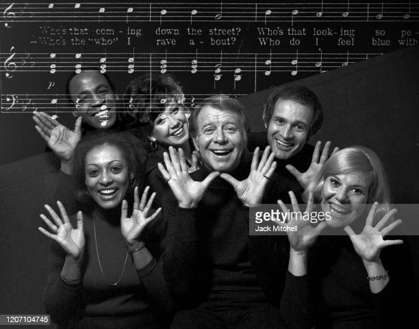 Portrait of the cast of the OffBroadway show 'Music Music' March 1974 Pictured are Gene Nelson Larry Kert Karen Morrow Donna McKechnie Robert...