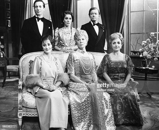 Portrait of the cast of the play 'Crown Matrimonial' Andrew Ray Heather Kyd Peter Barkworth and Amanda Reiss Wendy Hiller and Jane Wenham in costume...