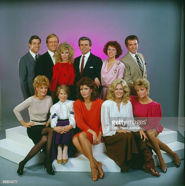 Portrait of the cast of the primetime television soap opera 'Knots Landing' 1984 Pictured are back row from left American actors Douglas Sheehan Ted...