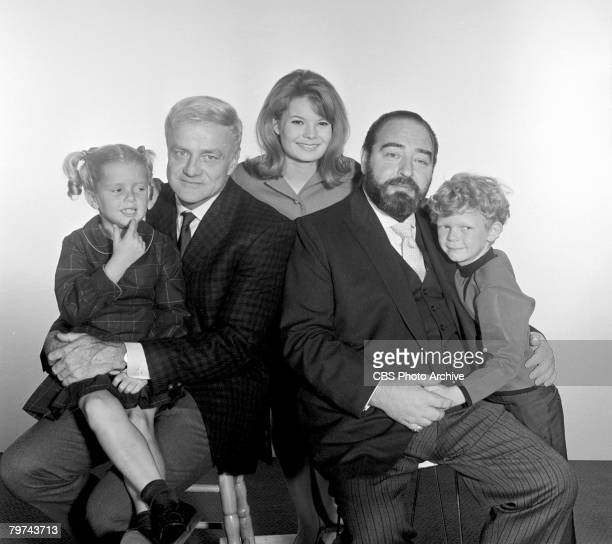 Portrait of the cast of the television series 'Family Affair' August 10 1966 Pictured from left are American actors Anissa Jones as Buffy Brian Keith...