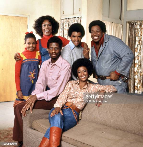 Portrait of the cast of the television show GOOD TIMES, Los Angeles, California, September 29, 1977. Pictured are, front row seated from left, Jimmie...