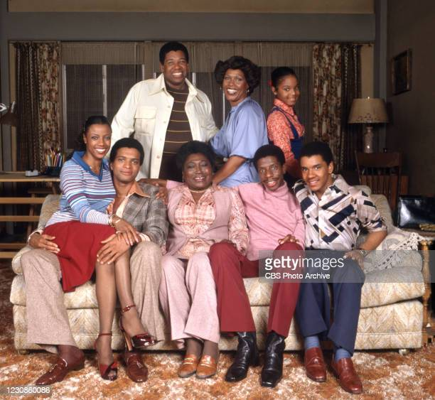Portrait of the cast of the television show GOOD TIMES, Los Angeles, California, January 1, 1978. Pictured are, front row seated from left,...