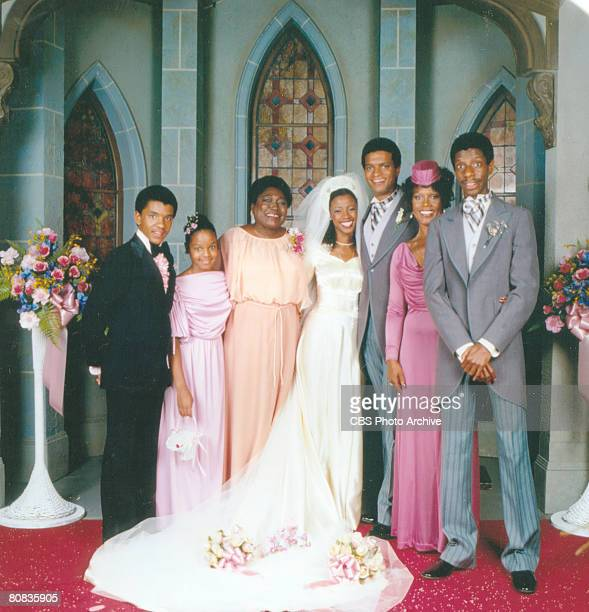Portrait of the cast of the television show 'Good Times,' Los Angeles, California, August 3, 1978. Pictured from left, all in formal wedding attire,...
