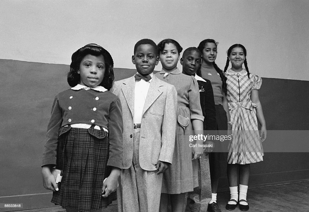 Portrait of the children involved in the landmark Civil Rights lawsuit 'Brown V. Board of Education,' which challenged the legality of American public school segregation, Topeka, Kansas, 1953. From front, Vicki Henderson, Donald Henderson, Linda Brown (the 'Brown' of the case's name), James Emanuel, Nancy Todd, and Katherine Carper.