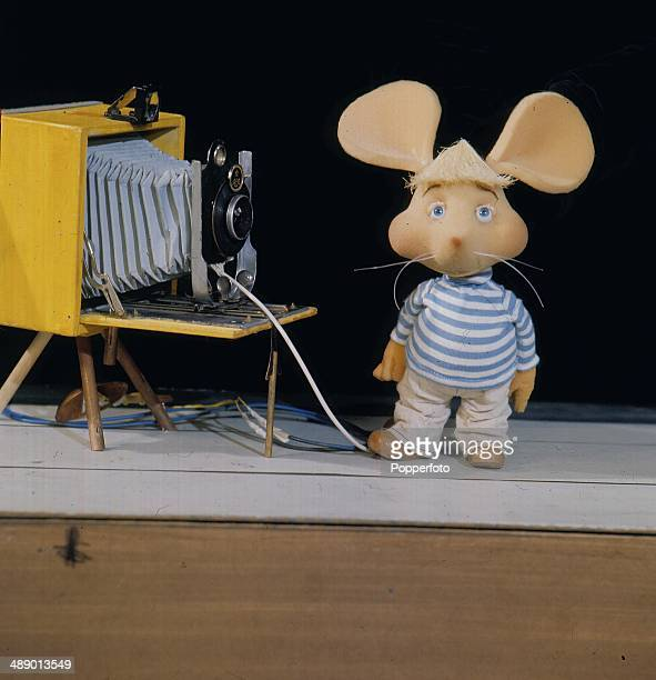 1967 Portrait of the childrens' puppet show character Topo Gigio featured with a camera on television in 1967
