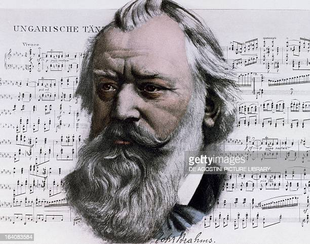 Portrait of the composer Johannes Brahms with Hungarian Dance score