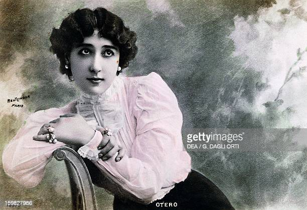 Portrait of the dancer and actress Carolina Otero known as La Belle Otero French postcard 1910