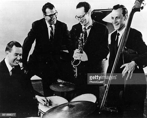 Portrait of the Dave Brubeck Quartet at the Newport Jazz Festival , Newport, Rhode Island, 1959. Pictured are, from left, Joe Morello , on drums,...