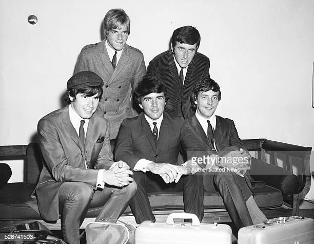 Portrait of 'The Dave Clark Five' band Denny Payton Lenny Davidson Dave Clark Rick Huxley and Mike Smith at John F Kennedy International Airport New...