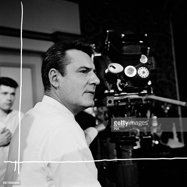 Portrait of the director JeanPierre Decourt behind the camera on the shooting of the 'serial' Rocambole ''