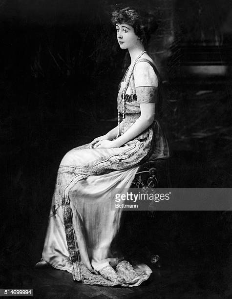 Portrait of the Duchess of Marlborough Consuelo Vanderbilt Seated wearing Formal Gown