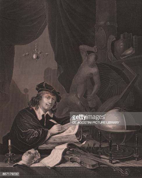 Portrait of the Dutch painter Gerrit Dou engraving by Albert Henry Paine from a painting Gerrit Dou from Payne's Royal Dresden Gallery by Albert...