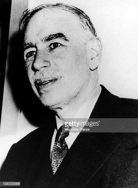 Portrait Of The Economist John Maynard Keynes Between 1940 And 1945 Who Instigated New Deal, An Economic Policy Applied By President Roosevelt Tos...