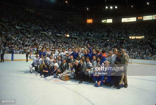 Portrait of the Edmonton Oilers as they pose on the ice following their victory over the Boston Bruins in the Stanley Cup finals Edmonton Alberta...