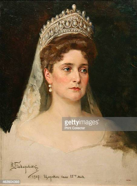 'Portrait of the Empress Alexandra Feodorovna' 1907 Detail A granddaughter of Queen Victoria Princess Alix of Hesse married Tsar Nicholas II in...
