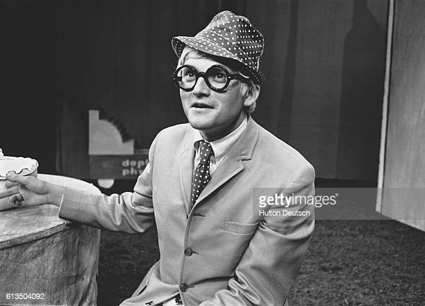 A portrait of the English artist David Hockney taken on the set of 'Ubo Roi' at the Royal Court Theatre in London England Besides the development of...