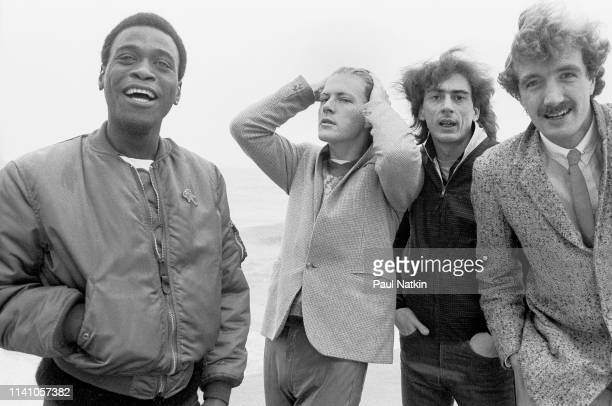 Portrait of the English new wave band The Sinceros left to right Ron Francois Don Snow Bobbi Irwin and Mark Kjeldsen on the lakefront in Chicago...