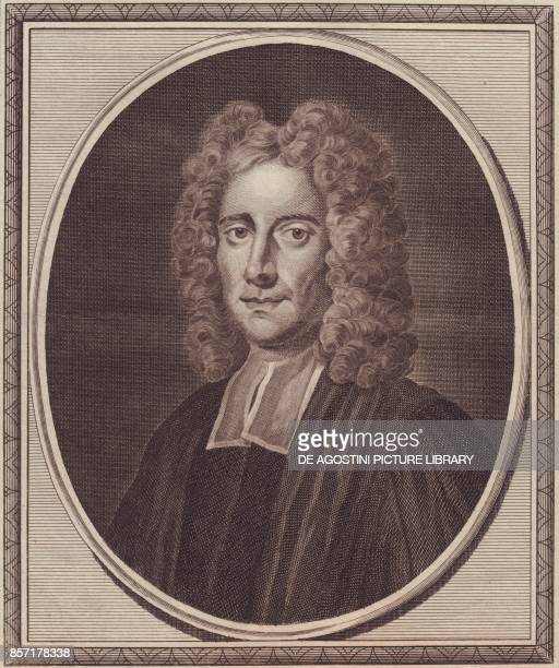 Portrait of the English philosopher Samuel Clarke copper engraving by John Goldar from a painting by Gibson 19x16 cm from History of England by Paul...