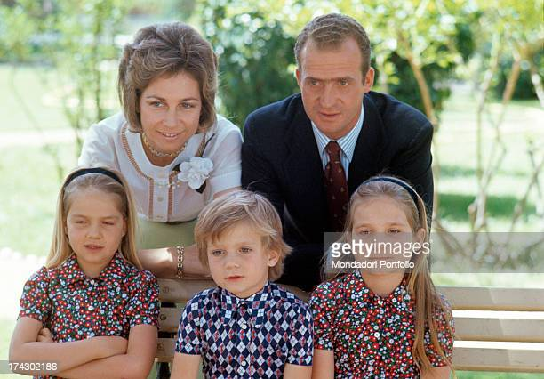 Portrait of the family of the future king of Spain Prince Juan Carlos of Bourbon and his wife Princess Sophia of Greece and Denmark with their three...