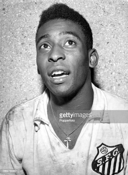 A portrait of the famous Brazilian football legend Pele Circa 1950s