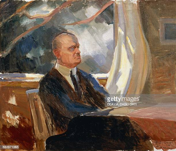 Portrait of the Finnish composer and violinist Jean Sibelius painting by S Salokini 20th century Turku Sibelius Museo/Sibelius Museet