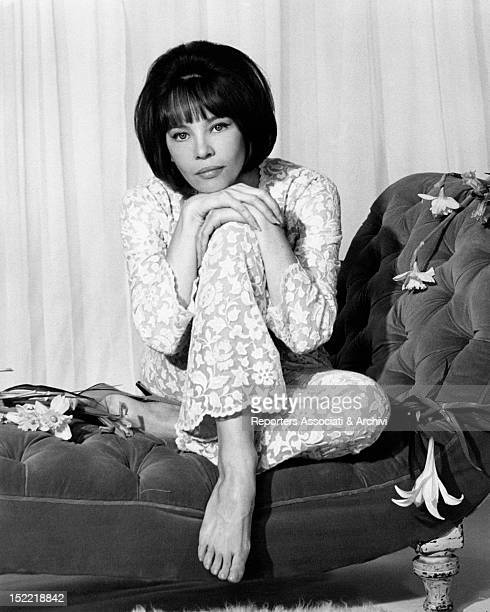 A portrait of the French actress and dancer Leslie Caron renowned Hollywood musical 's performer seated on a deckchair 1965