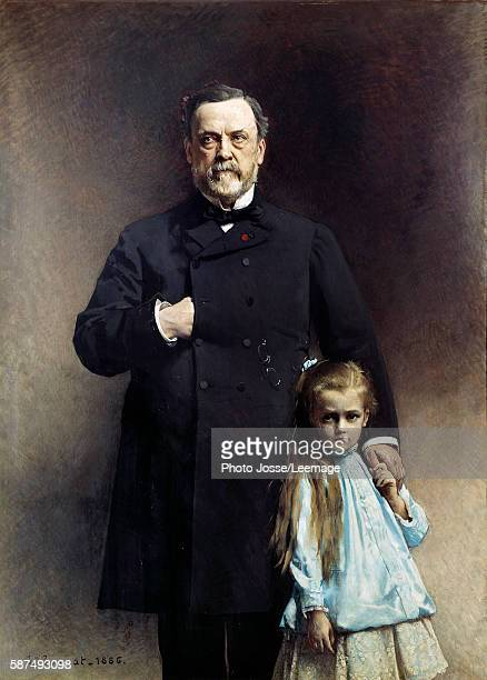 Portrait of the French doctor Louis Pasteur with his granddaughter Camille Vallery Radot Painting by Leon Joseph Bonnat 1886 Pasteur Museum Paris