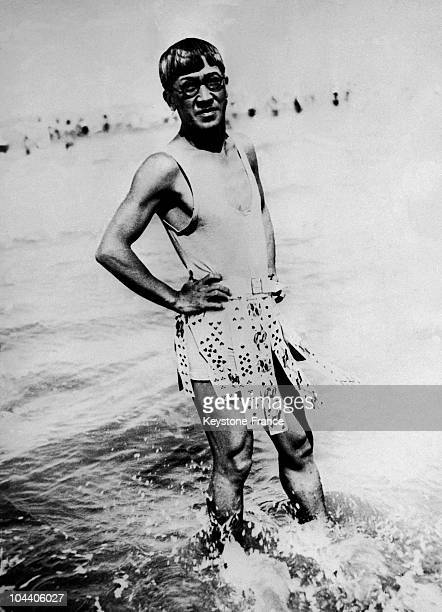 Portrait of the French painter of Japanese origin Tsuguharu FUJITA or Leonard Foujita in the water on the beach of Deauville where he was spending...
