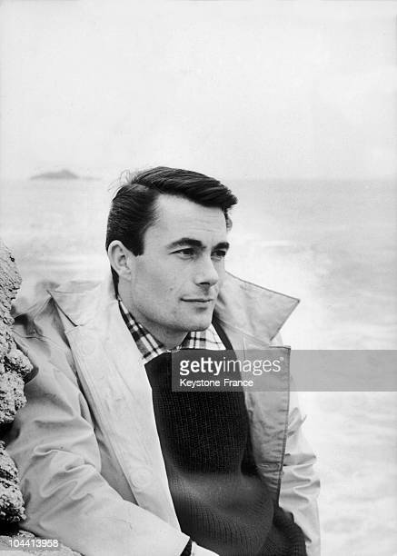A portrait of the French singer Alain BARRIERE along the coast of Brittany on February 2 1966