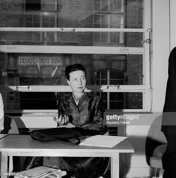 Portrait of the French writer Simone DE BEAUVOIR photographed in Paris on June 14, 1960.