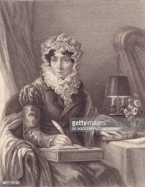Portrait of the French writer StephanieFelicite Ducrest de Saint Aubin Madame de Genlis engraving 14x11 from Galerie Historique de Versailles...