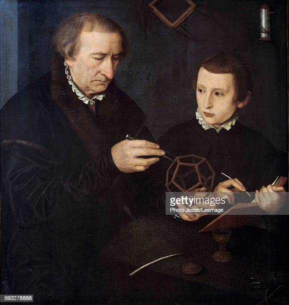 Portrait of the German calligrapher and mathematician Johann Neudorfer The Elder and his son Painting from the art workshop of Nicolas Neufchatel...