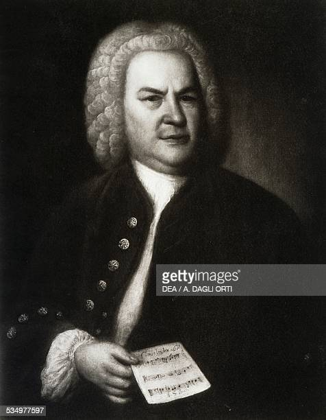 Portrait of the German composer and organist Johann Sebastian Bach from an oil painting by Elias Gottlob Haussmann in 1748 Germany 18th century...