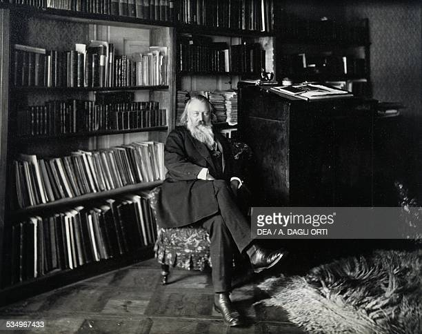 Portrait of the German composer Johannes Brahms in the library of his home in Vienna 19th century Vienna HaydnMuseum
