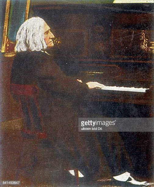Portrait of the German Hungarian composer and pianist Franz Liszt in old age sitting at a piano undated Colored miniature