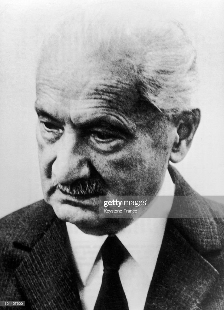 Portrait of the German philosopher Martin HEIDEGGER around the age of 60, in the 1950's.