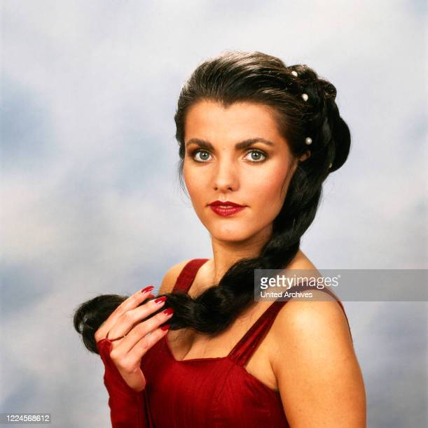 Portrait of the German TV presenter Birgit Schrowange here with a braid and long hair Germany circa 1993