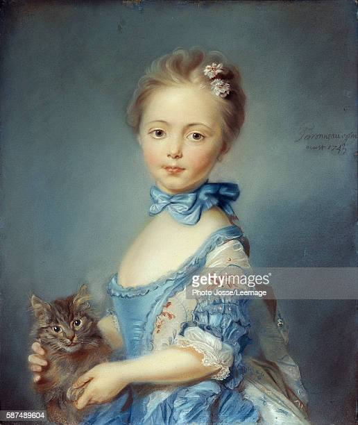 Portrait of the girl with a cat Pastel Painting by JeanBaptiste Perronneau 1743 059 X 048 m Tate Gallery London