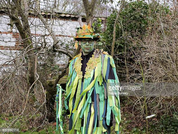 Portrait of the Green Man at an orchardvisiting wassail in Kilham village Yorkshire Wolds UK on 21st January 2017 Wassail is a traditional Pagan...