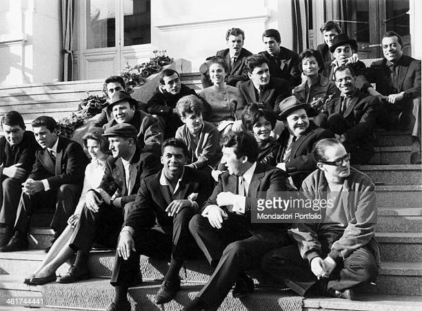 Portrait of the group of singer of 1964 Sanremo Italian Music Festival on the first step below from right Gino Paoli Tony Dallara Beh E King Nicola...