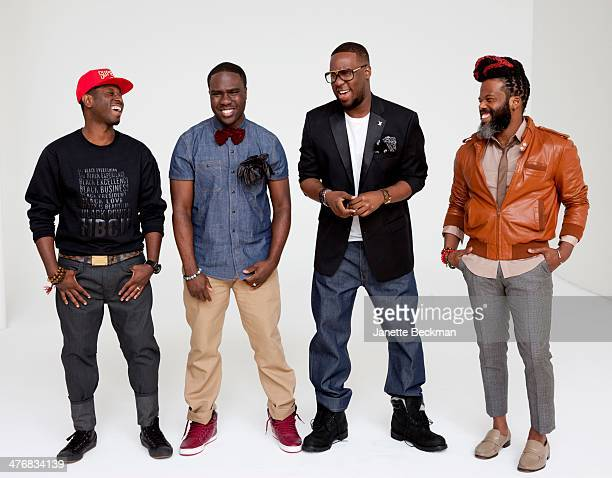 Portrait of the group the Robert Glasper Experiment as they pose against a white background New York New York June 4 2013 Pictured are from left Mark...