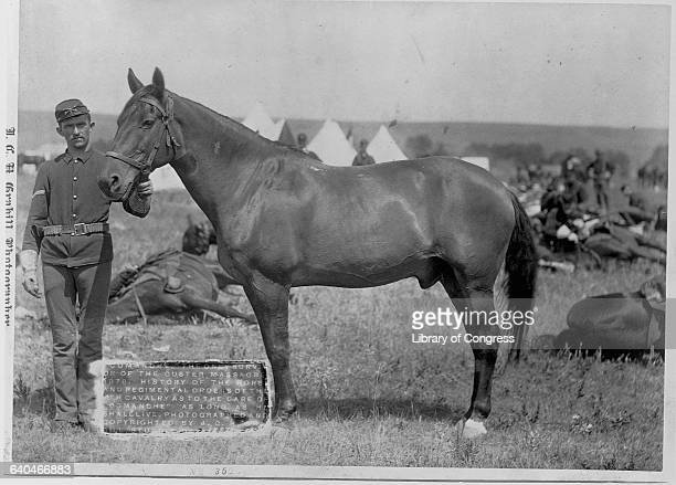 A portrait of the only survivor of the Battle of Little Bighorn standing with his horse