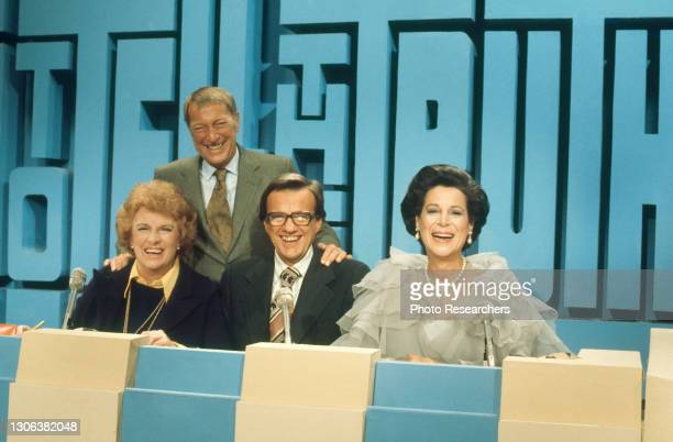 Portrait of the host and three panelists on the set of the game show 'To Tell the Truth,' Los Angeles, California, 1975. Pictured are, host Garry...