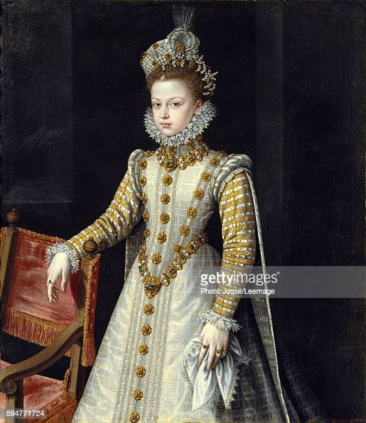 Portrait of the Infanta Isabel Clara Eugenia sovereign of the Spanish Netherlands Painting by Alonso Sanchez Coello Spanish School 1579 Oil on canvas...