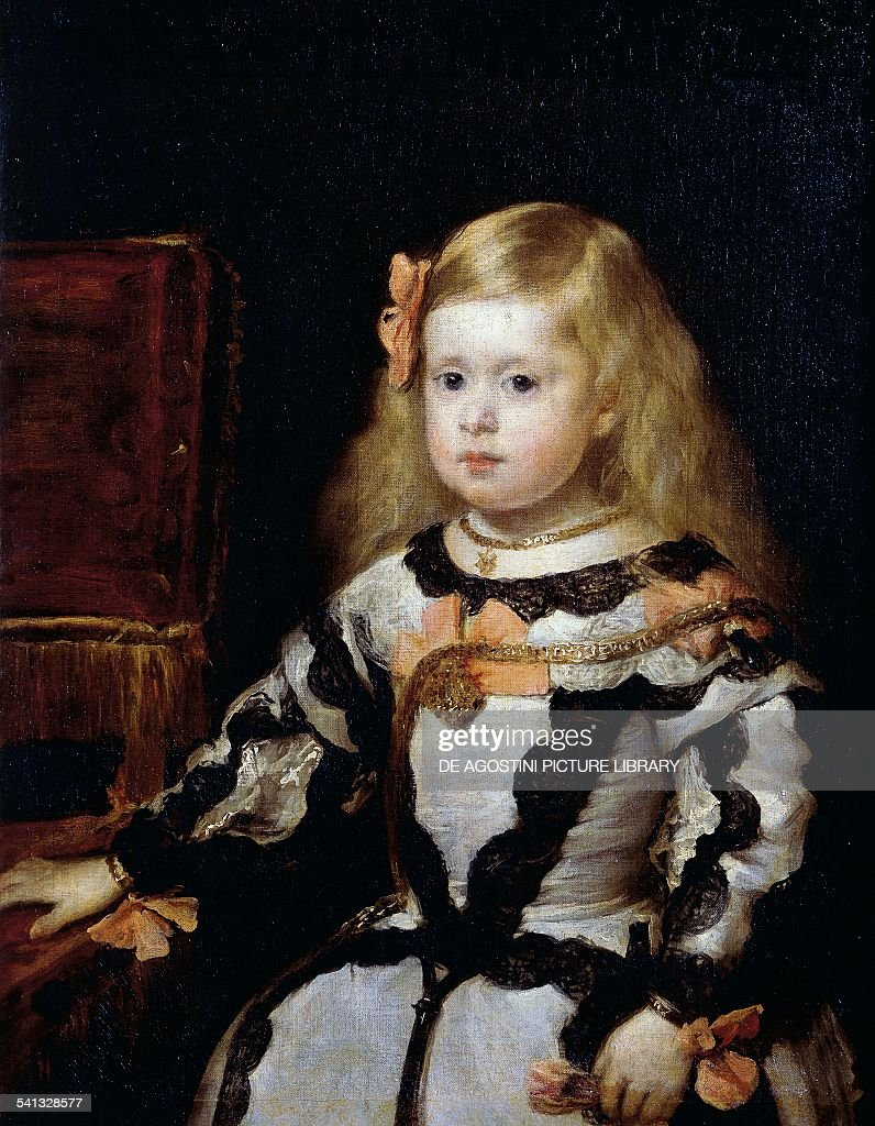 Portrait of the Infanta Margarita (1651-1673) daughter of King Philip IV of Spain and his second wife Mariana of Austria, by Diego Velazquez (1599-1660), canvas, 70x58 cm. Paris, Musée Du Louvre
