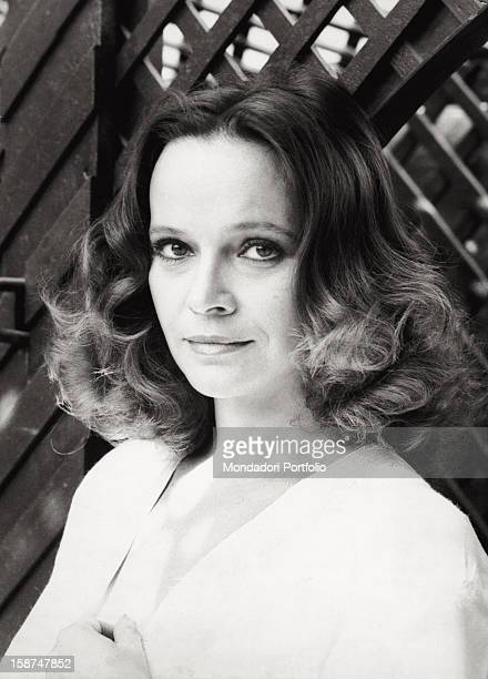 Portrait of the Italian actress Laura Antonelli on the terrace of her house Rome 1979